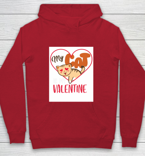 Cute My Cat Is My Valentine Cat Lover Valentines Day Gift Youth Hoodie 7