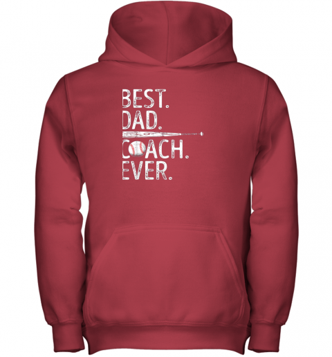 4k4m mens best dad coach ever t shirt baseball fathers day gift youth hoodie 43 front red