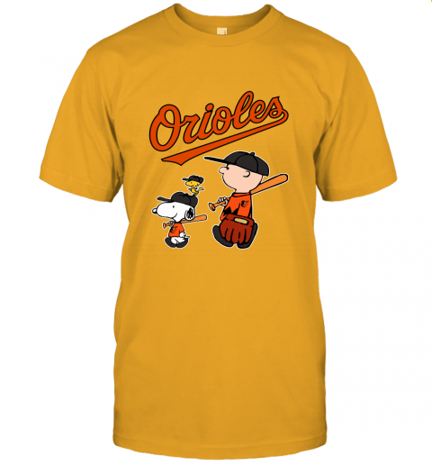 wmjp baltimore orioles lets play baseball together snoopy mlb shirt jersey t shirt 60 front gold