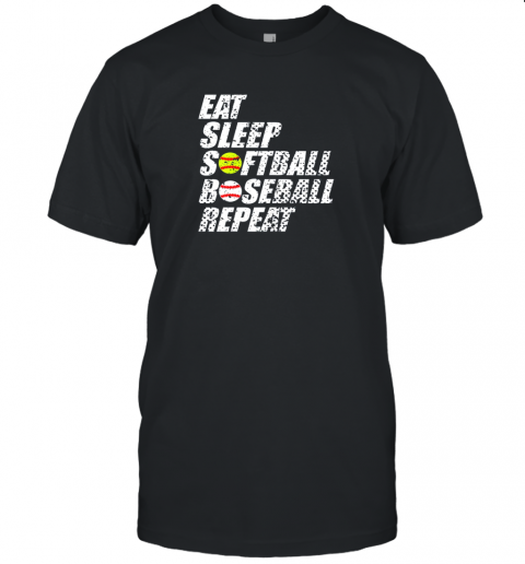 Softball Baseball Repeat Shirt Cool Cute Gift Ball Mom Dad Unisex Jersey Tee