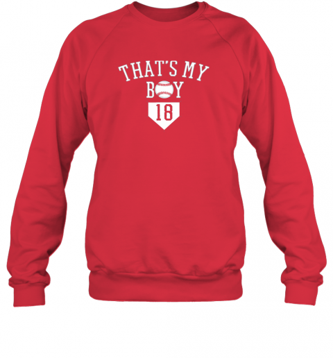 t6y9 that39 s my boy 18 baseball number 18 jersey baseball mom dad sweatshirt 35 front red