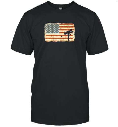 Vintage Baseball Pitcher Shirt American Flag Unisex Jersey Tee