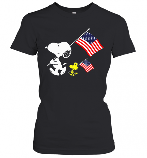 Snoopy And Woodstock Holding American Flag 4Th Of July Women's T-Shirt