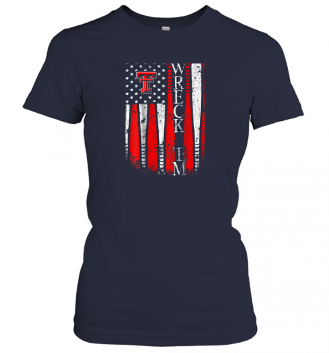 lkis texas tech red raiders baseball flag team name ladies t shirt 20 front navy