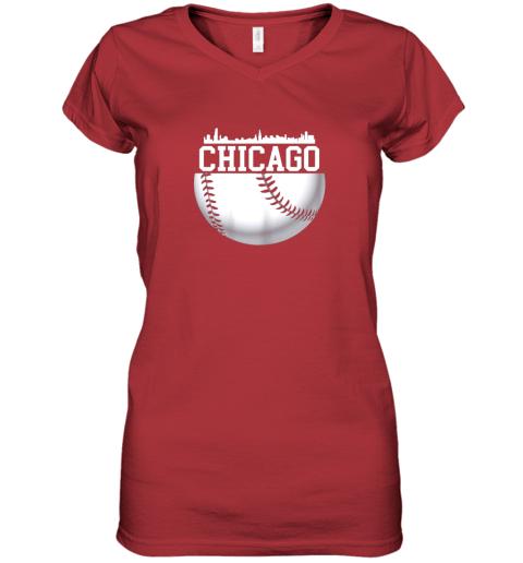 vsrp vintage downtown chicago shirt baseball retro illinois state women v neck t shirt 39 front red
