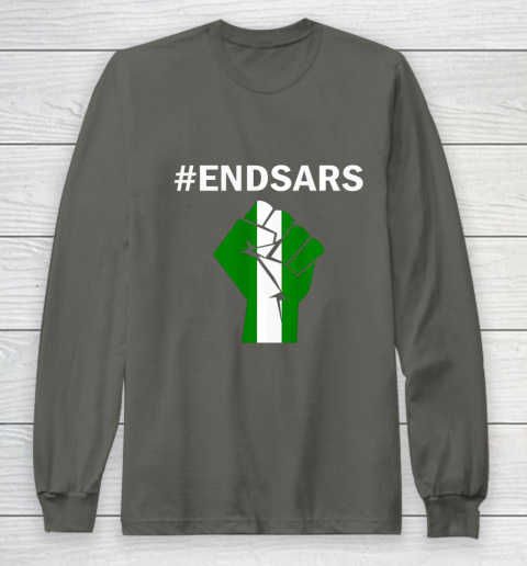 EndSARS End SARS Nigeria Flag Colors Strong Fist Protest Long Sleeve T-Shirt 5