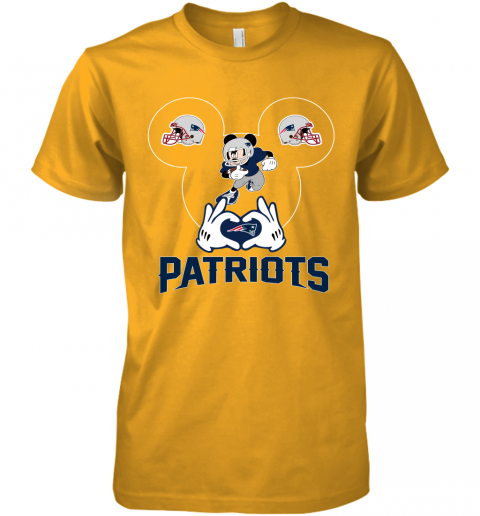 yeyk i love the patriots mickey mouse new england patriots premium guys tee 5 front gold