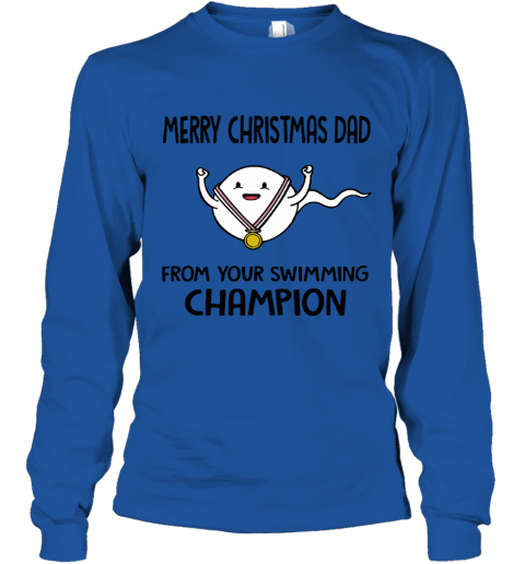 70gu merry christmas dad from your swimming champion youth long sleeve 50 front royal