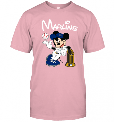 vx98 miami marlins mickey taking the trophy mlb 2019 jersey t shirt 60 front pink