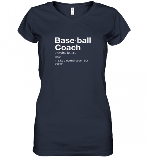 45om coach baseball shirt team coaching women v neck t shirt 39 front navy