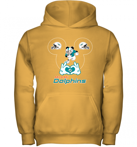 4szz i love the dolphins mickey mouse miami dolphins youth hoodie 43 front gold