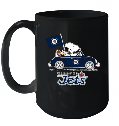 Snoopy And Woodstock Ride The Winnipeg Jets Car Ceramic Mug 15oz