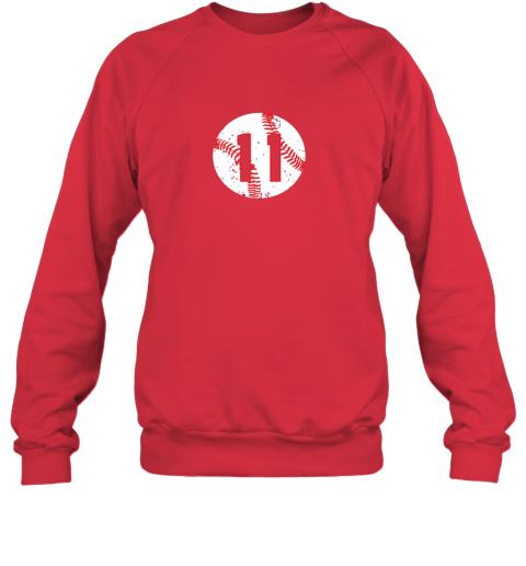 dd73 vintage baseball number 11 shirt cool softball mom gift sweatshirt 35 front red