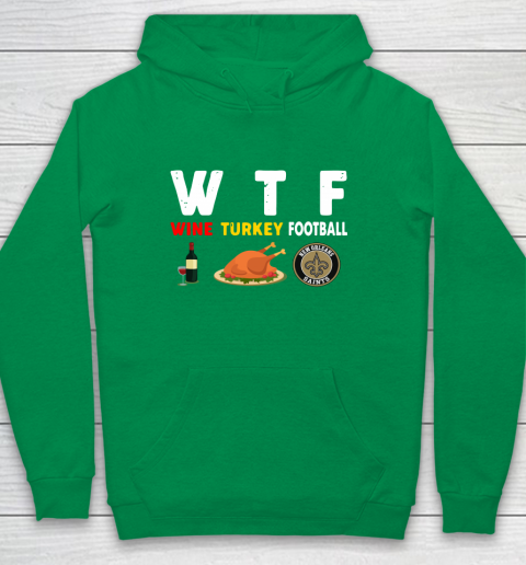 New Orleans Saints Giving Day WTF Wine Turkey Football NFL Youth Hoodie 4