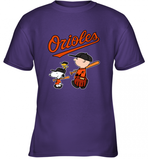 qz2t baltimore orioles lets play baseball together snoopy mlb shirt youth t shirt 26 front purple