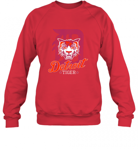 vxjk tiger mascot distressed detroit baseball t shirt new sweatshirt 35 front red