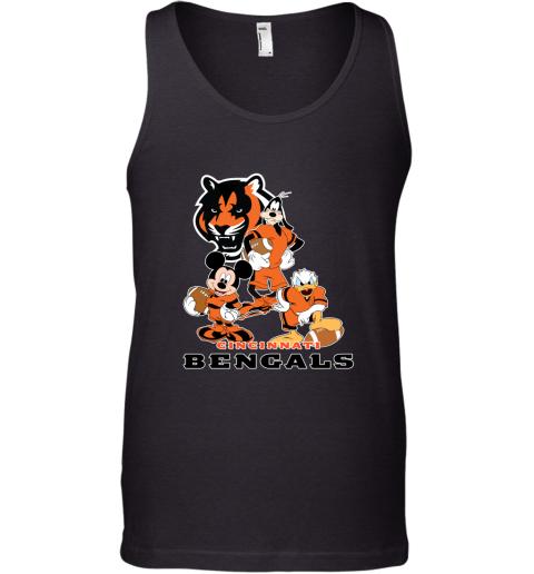 tzem mickey donald goofy the three cincinnati bengals football shirts unisex tank 17 front black