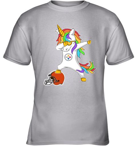 wbpf football dabbing unicorn steps on helmet pittsburgh steelers youth t shirt 26 front sport grey