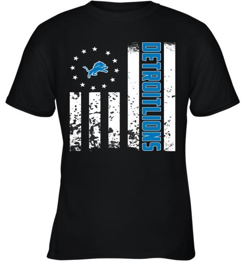 NFL Detroit Lions Logo American Flag Youth T-Shirt