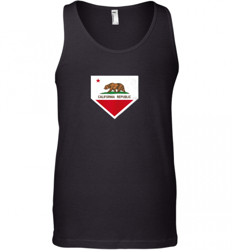 Vintage Baseball Home Plate With California State Flag Tank Top