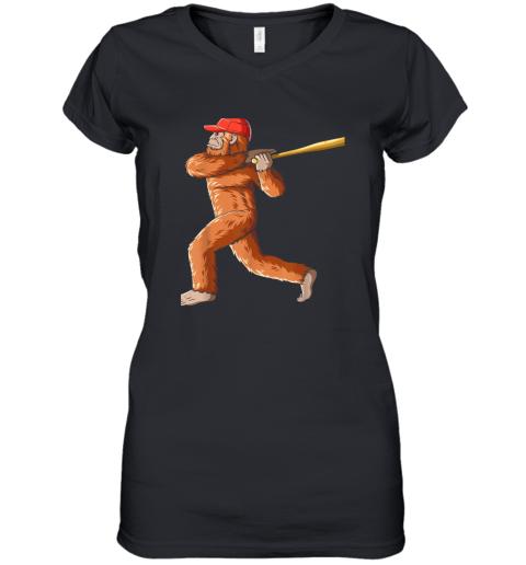 Bigfoot Baseball Sasquatch Playing Baseball Player Women's V-Neck T-Shirt