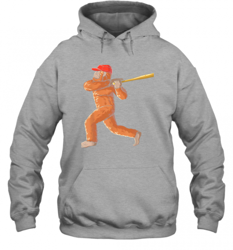 3pdz bigfoot baseball sasquatch playing baseball player hoodie 23 front sport grey