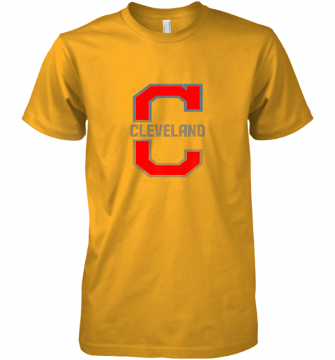 kzt2 cleveland hometown indian tribe vintage premium guys tee 5 front gold