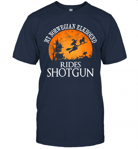 Norwegian Elkhound Rides Shotgun Dog Lover Halloween Gift T-Shirt