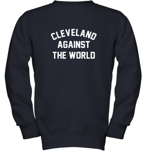 iqs9 cleveland against the world football baseball basketball youth sweatshirt 47 front navy