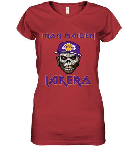 h1ur nba los angeles lakers iron maiden rock band music basketball women v neck t shirt 39 front red