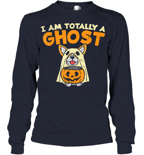 Welsh Corgi Totally Ghost Funny Halloween Costume Dog Owner Youth Long Sleeve