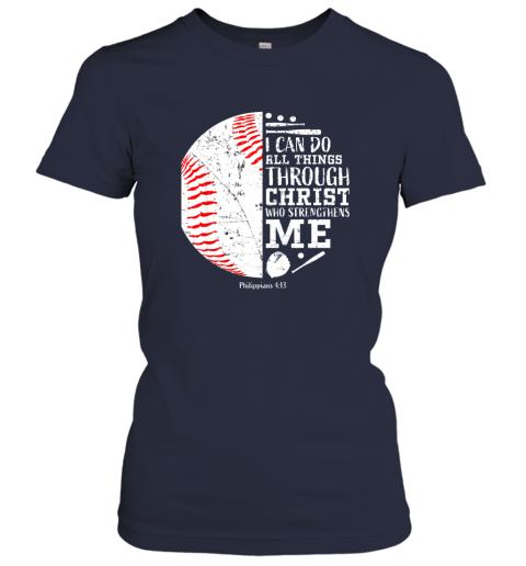ittw christian baseball shirts i can do all things through christ ladies t shirt 20 front navy