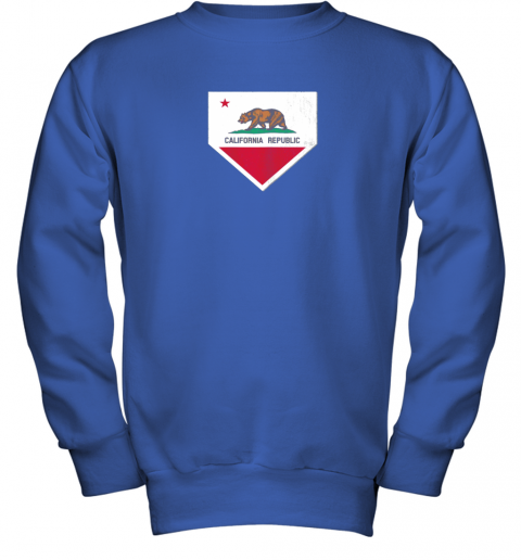 yykv vintage baseball home plate with california state flag youth sweatshirt 47 front royal