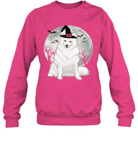 Scary American Eskimo Dog Witch Hat Halloween Sweatshirt