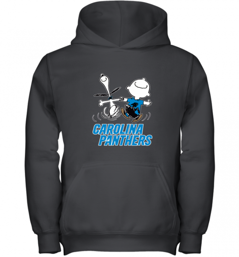 Snoopy And Charlie Brown Happy Carolina Panthers Youth Hoodie