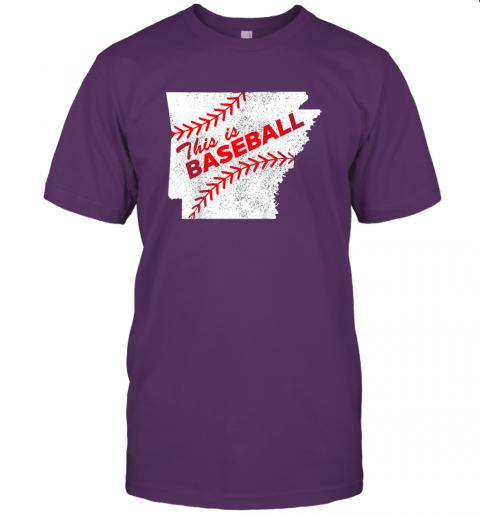 ks3o this is baseball arkansas with red laces jersey t shirt 60 front team purple