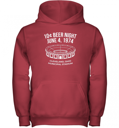 mv9c cleveland baseball shirt retro 10 cent beer night youth hoodie 43 front red
