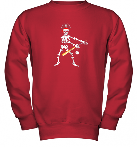 lolx skeleton pirate floss dance with baseball shirt halloween youth sweatshirt 47 front red