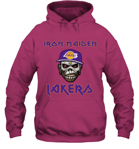 5ub4 nba los angeles lakers iron maiden rock band music basketball hoodie 23 front heliconia