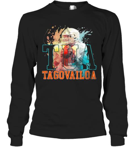 Tua Tagovailoa Miami Dolphins Football Water Color Long Sleeve T-Shirt
