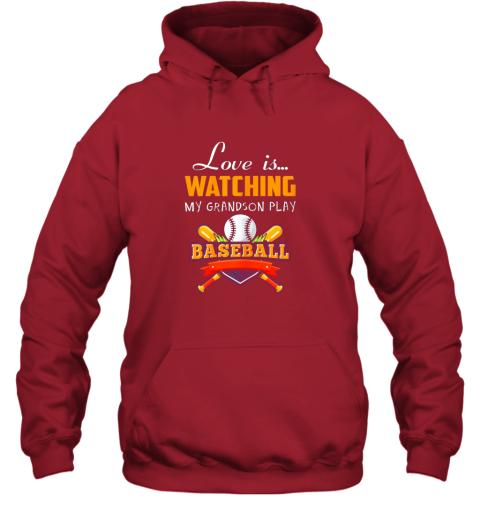 0jrm love is watching my grandson play baseball shirt grandma hoodie 23 front red