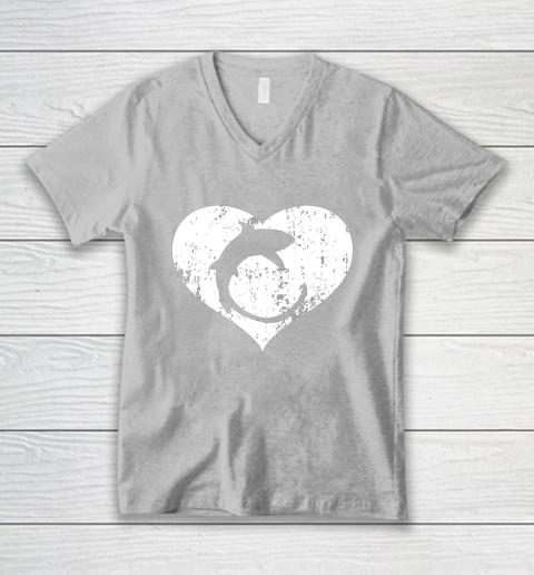 I Love Sharks Gifts Thresher Shark Heart Valentine Gift V-Neck T-Shirt 3