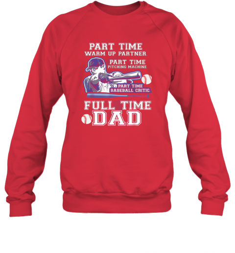 ojnh mens part time warm up partner pitching machine baseball dad sweatshirt 35 front red