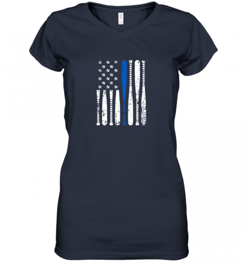 5mir thin blue line leo usa flag police support baseball bat women v neck t shirt 39 front navy