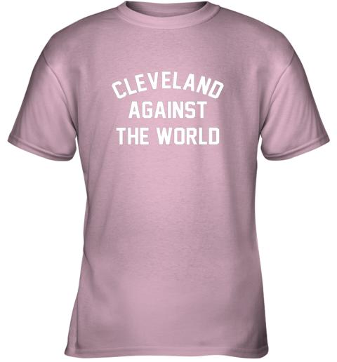 96mq cleveland against the world football baseball basketball youth t shirt 26 front light pink