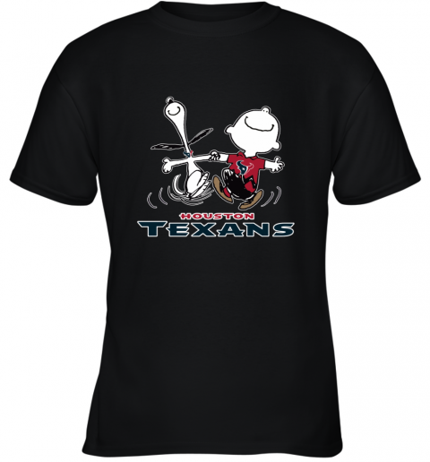 Snoopy And Charlie Brown Happy Houston Texans NFL Youth T-Shirt