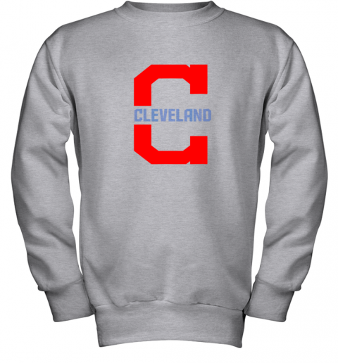 rknk cleveland hometown indian tribe vintage for mlb fans youth sweatshirt 47 front sport grey