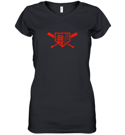 Cool San Francisco Baseball The City Bridge SFO Women's V-Neck T-Shirt
