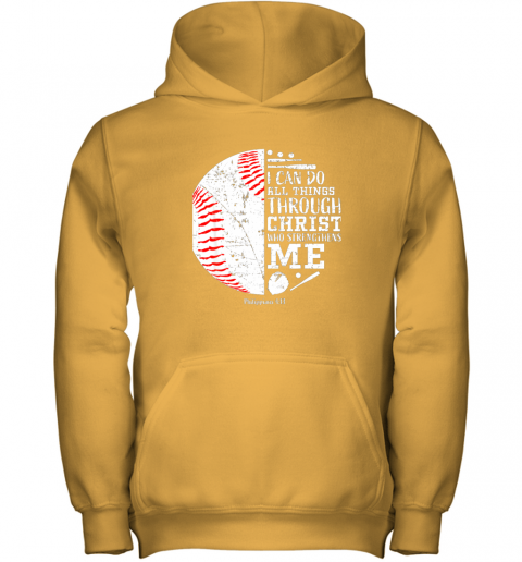 nrrl christian baseball shirts i can do all things through christ youth hoodie 43 front gold