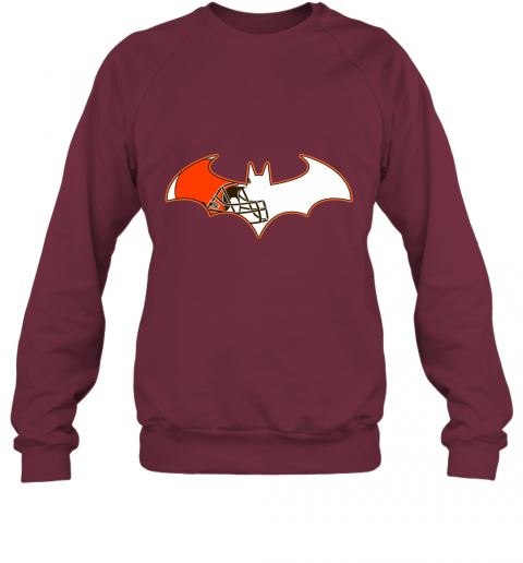 qunl we are the cleveland browns batman nfl mashup sweatshirt 35 front maroon